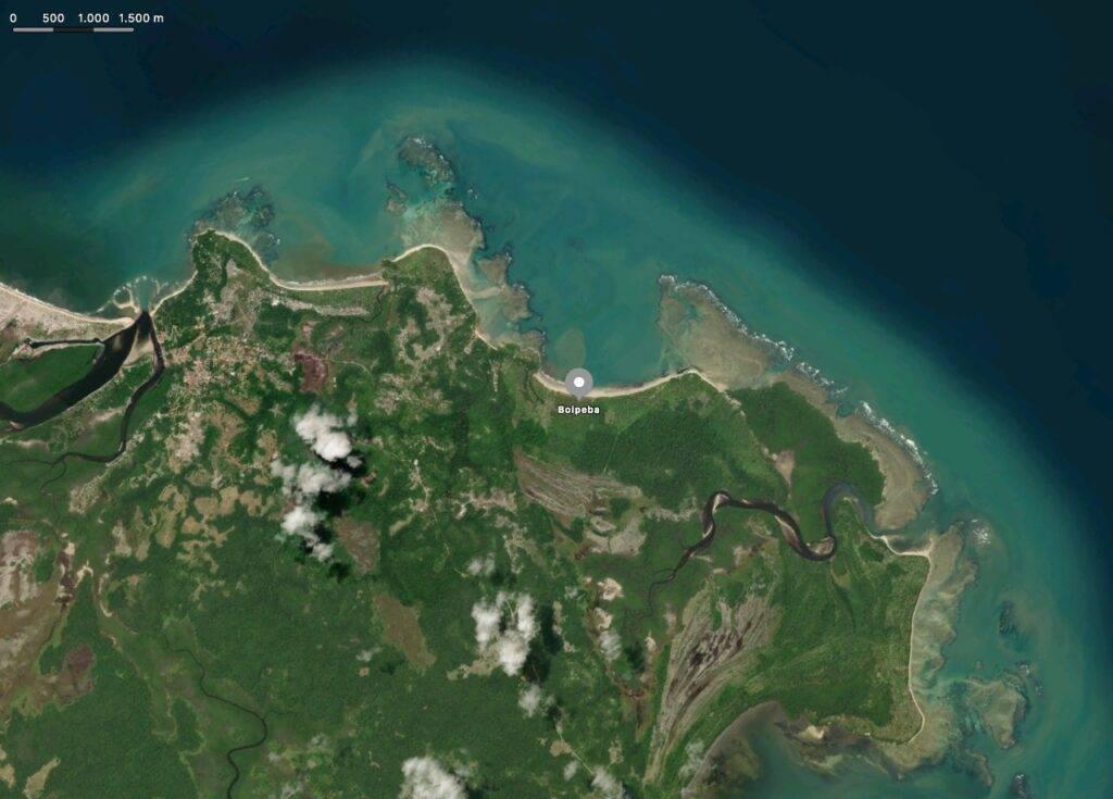 Litoral da Ilha de Boipeba; Google Maps